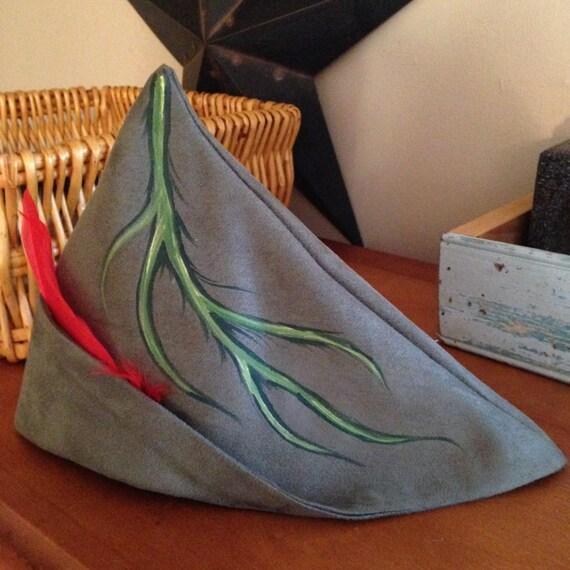 Peter Pan Robin Hood OOAK pintado sombrero de gamuza   con  4fa6ba060ed