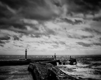 Whitby Harbour, North Yorkshire, art, photography, wall art, original print, landscape, black and white photography