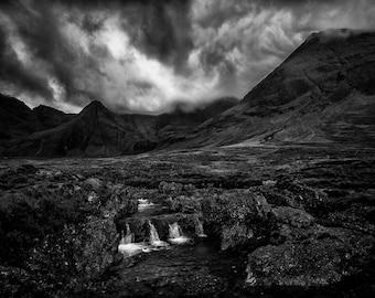 Fairy Pools, Isle of Skye,art, photography, wall art, original print, landscape, black and white photography