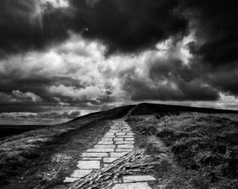 Mam Tor - Peak District, art, photography, wall art, original print, landscape, black and white photography