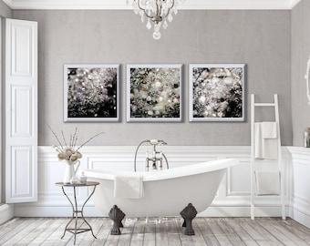 Nature Industrial Bathroom Wall Art Decor. Set of 3 Urban Bathroom Art Prints, Diamonds, Dew Drops, Photography.