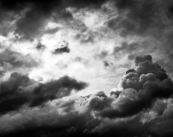 Clouds, dramatic, sky, nature, photography, wall art, original print, landscape, black and white photography, people, silouette