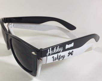 Newlywed Personalized Sunglasses - Bride and Groom - Hubby and Wifey - Mr and Mrs - Destination Wedding - Honeymoon - Gift for the Couple