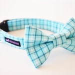 Baby Blue Plaid Dog Collar Bow Tie Set Breezy