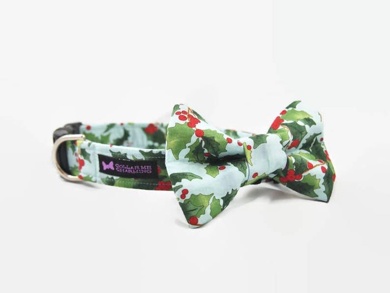 Christmas Dog Collar Bow Tie Set Holly image 0