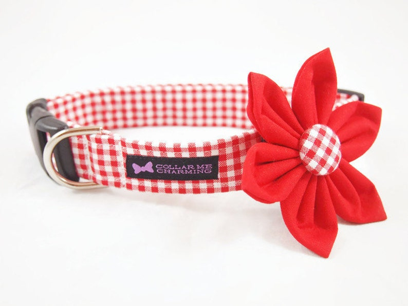 Red Gingham Collar Flower Set image 0
