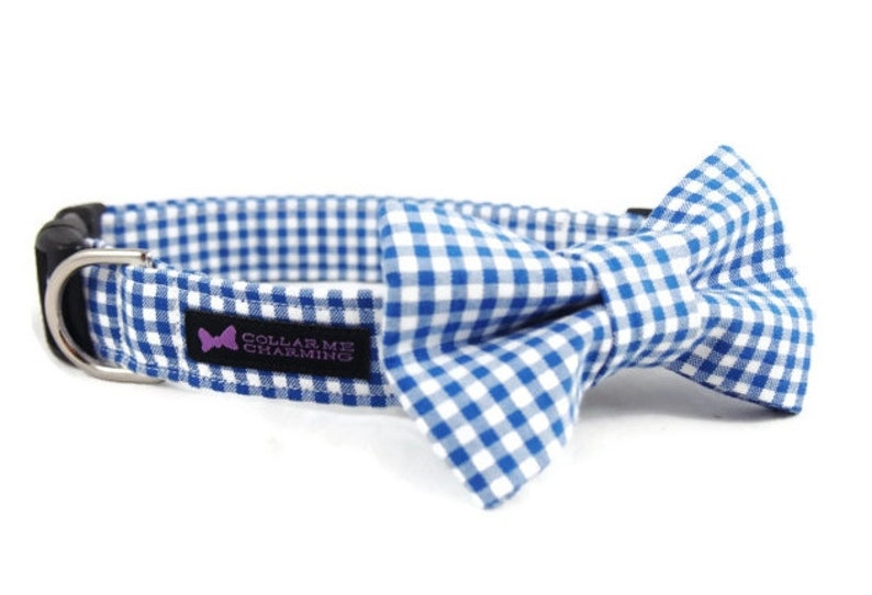 Blue Gingham Dog Collar Bow Tie Set image 0