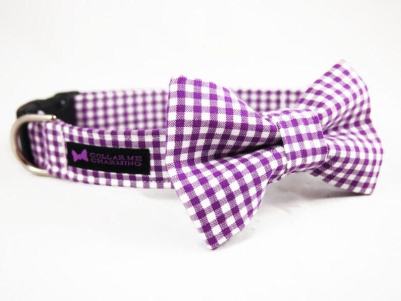 Purple Gingham Dog Collar Bow Tie Set image 0