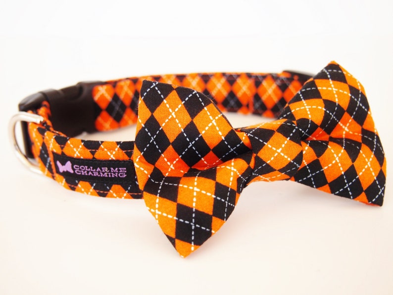 Dog Collar Bow Tie Set Trickery  Halloween Special Edition image 0