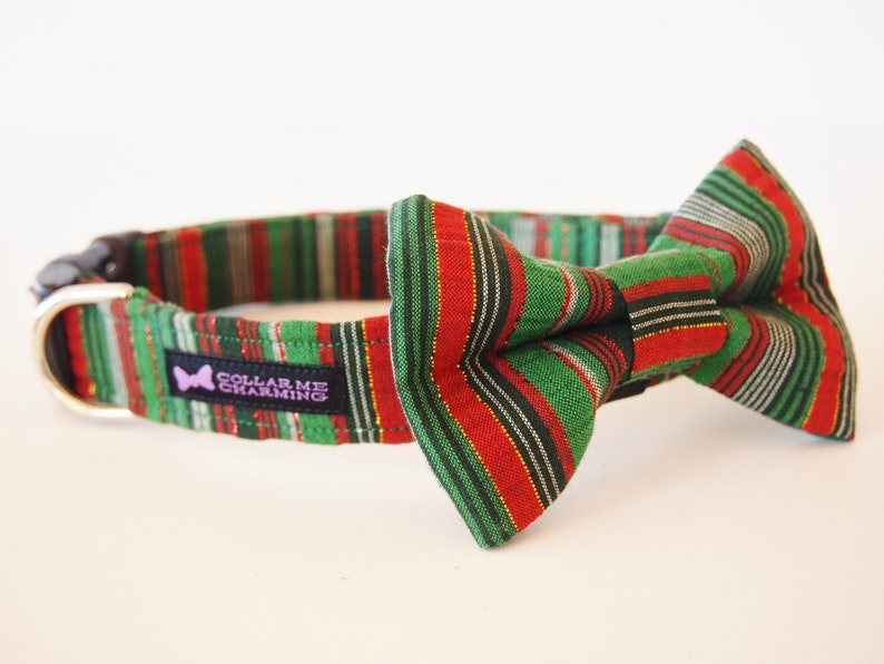 Christmas Dog Collar Bow Tie Set Merry image 0