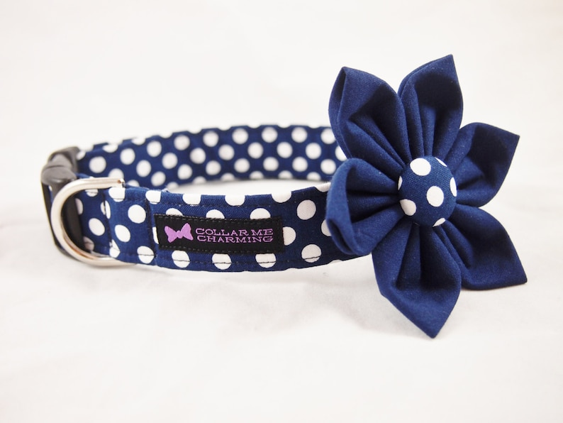 Navy Polka Dot Dog Collar Flower Set Darling image 0