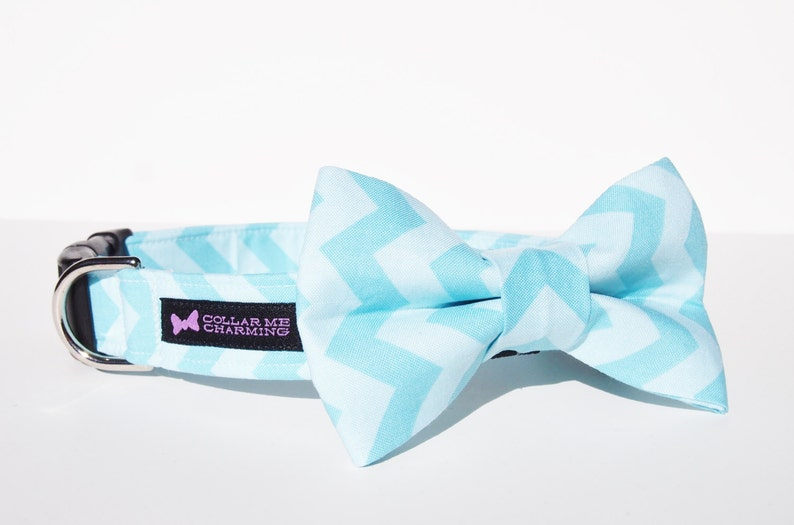 Chevron Dog Collar Bow Tie Set  Blue image 0