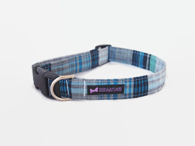 Blue Plaid Dog Collar Marshall image 0