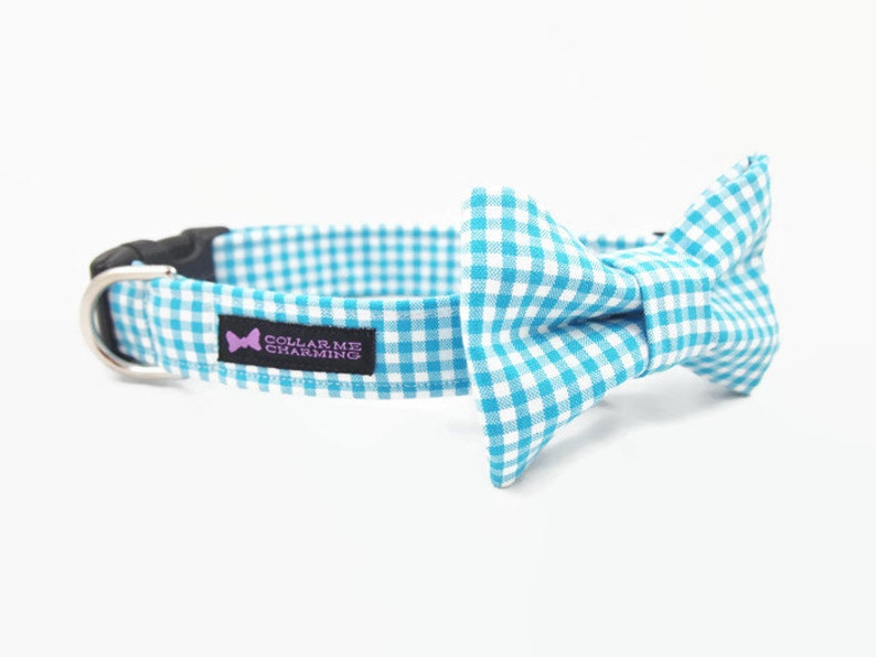 Aqua Gingham Dog Collar Bow Tie Set image 0
