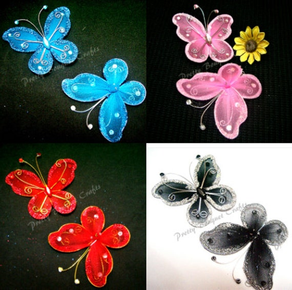3 Wire /& Net Butterflies With Gems White 4cm