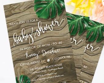 Tropical Baby Shower Invitation, Luau Baby Shower Invite, Tropical Leaves Invite
