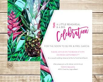 Modern Tropical Beach Wedding Rehearsal Invitation
