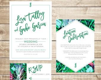 Tropical Pineapple Wedding Invitation Suite, Customizable Wedding Invitations
