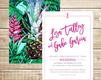 Modern Tropical Beach Wedding Invitation
