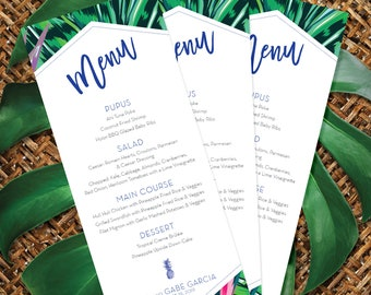 Modern Tropical Menu Card, Pineapple and Palm Leaf Menu
