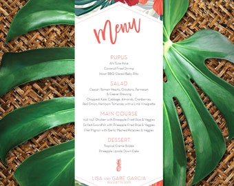 Modern Tropical Menu Card, Hibiscus Flower and Palm Leaf
