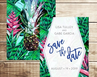 Modern Tropical Save the Date, Pineapple Save the Date