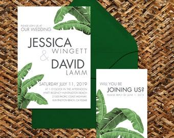 Modern Tropical Palm Leaf Wedding Invitation and RSVP