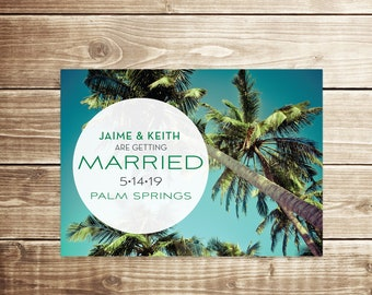 Modern Destination Wedding Save the Date / Beach Save the Date / Tropical Wedding / Beach Wedding / Palm Springs Wedding