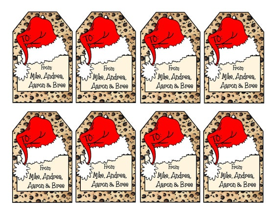 printable personalized leopard print christmas gift tags etsy