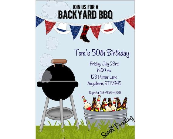 backyard cookout party invitation bbq birthday invitation etsy