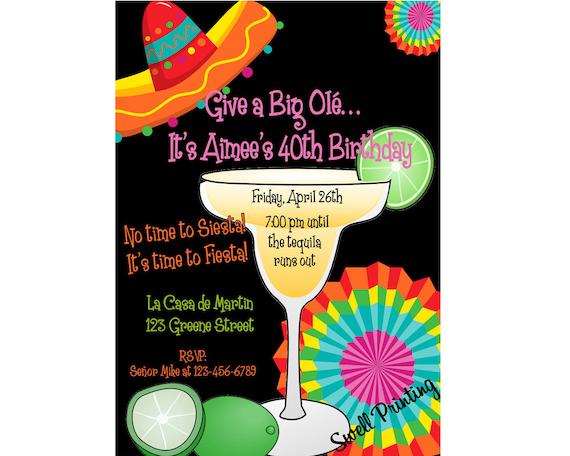 fiesta birthday party margarita party invitation mexican etsy