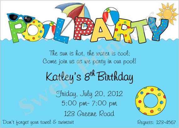 pool party invitation pool birthday invitation swimming etsy