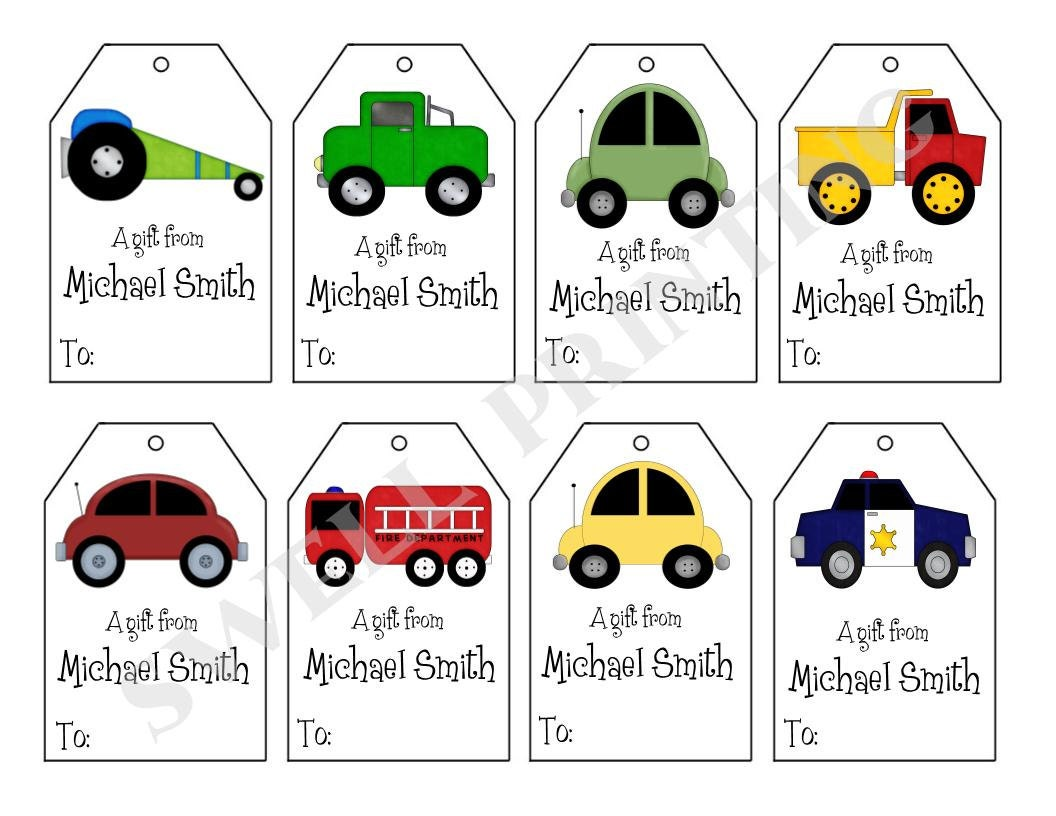 printable personalized cars gift tags cars trucks and etsy