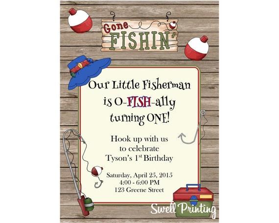 Fishing Invitation Gone Fishing Birthday Party Invitation Etsy