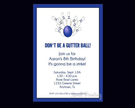 Kręgle Urodziny Zaproszenie 4 Bowling Cyfrowy Urodziny Etsy