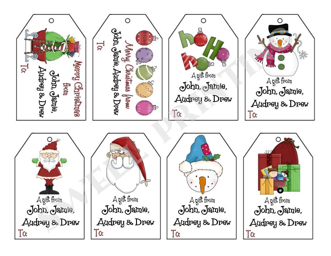 printable personalized christmas iii gift tag set santa snowman personalized gift tags by swell printing