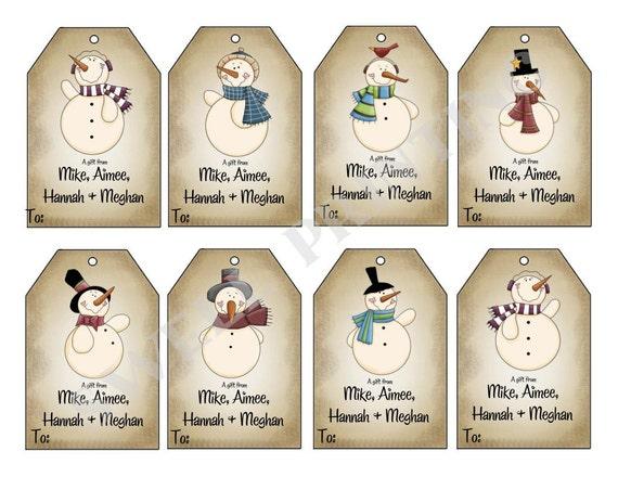 printable mr snowman gift tags holiday gift tag etsy