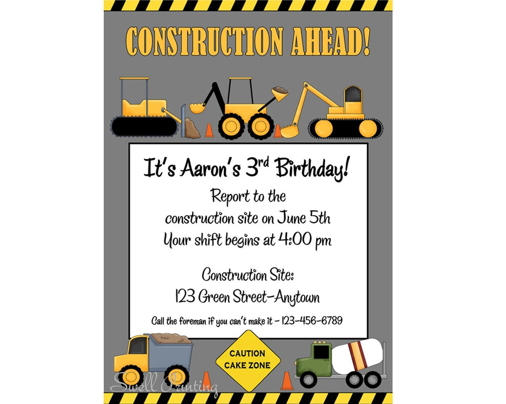 Printable Construction Birthday Invitation Heavy Equipment | Etsy