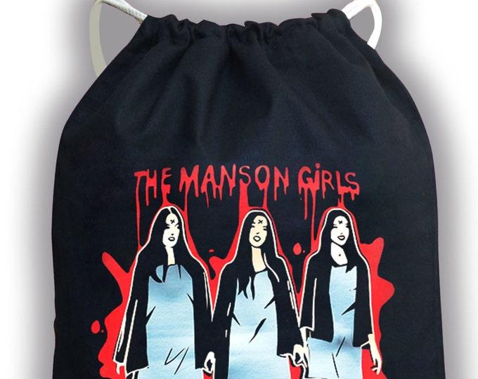Drawstring Backpack Manson Girls bag - Charles Manson- Manson Family crew