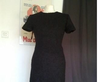 1950 50s vintage bombshell wiggle black dress S pin up dita