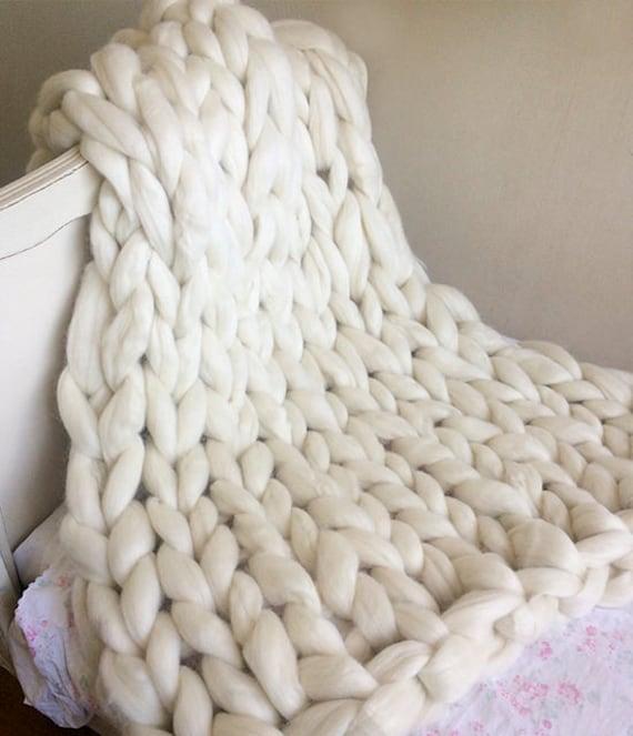 Gruesa manta manta gruesa punto grueso manta de cuna punto | Etsy