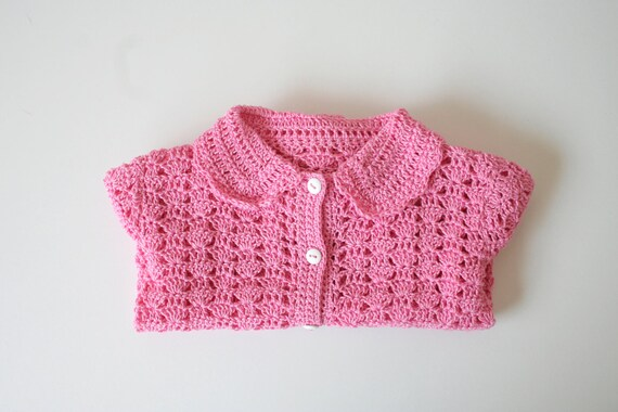 Crochet girl cardigan sweater. Pink. size 12-18 months. 100%  432f32fe6