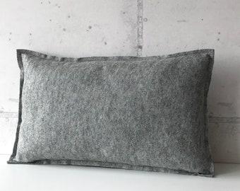 Wool basic pillow small, felt pillow small in grey