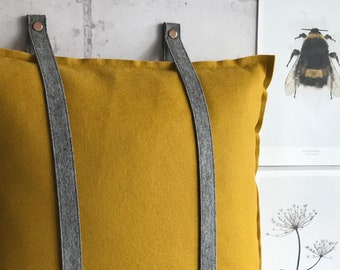 Loop pillow, felt wall hooks for pillows in grey