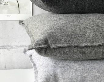 Wool basic pillow large, felt pillow large in grey