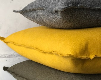 Wool basic pillow large, felt pillow large in curry