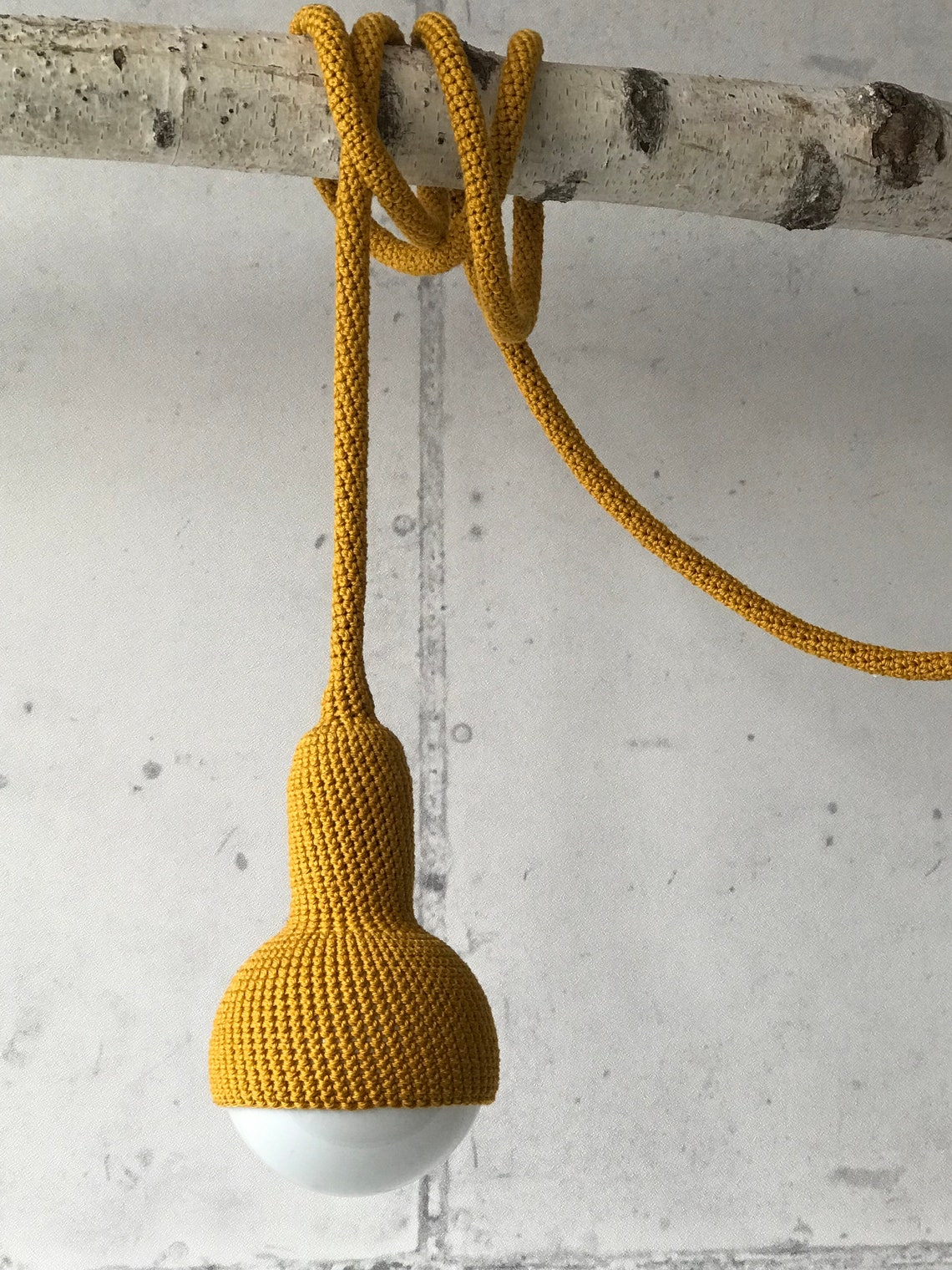 Lampe, plug in pendant lamp in curry - Eclairage