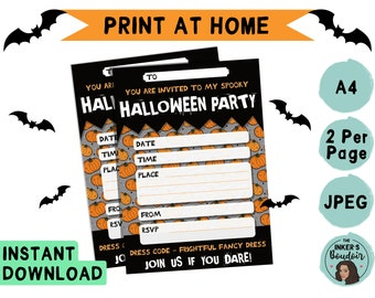 A5 | Printable Spooky Pumpkin Halloween Kids Party Invitation | JPEG A4 | Costume Invite Instant Digital Download | Stationery Print Home
