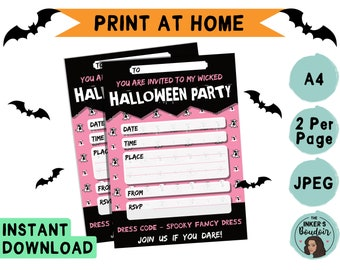 A5 | Printable Pink Ghost Halloween Kids Party Invitation | JPEG A4 | Girls Invite | Instant Digital Download | Stationery Print at Home