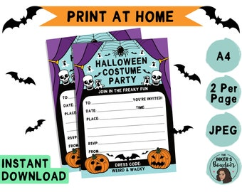 A5 | Printable Halloween Costume Kids Party Invitation | JPEG A4 | Fancy Dress Invite | Instant Digital Download | Stationery Print at Home